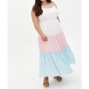 🆕 Colourblock Challis Tiered Maxi Dress 2X 18 20